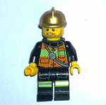 Lego  City 2013 Fire Chief gold helmet stripes minifigure vgc